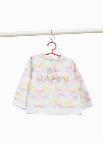 Patterned sweatshirt with sequin lettering