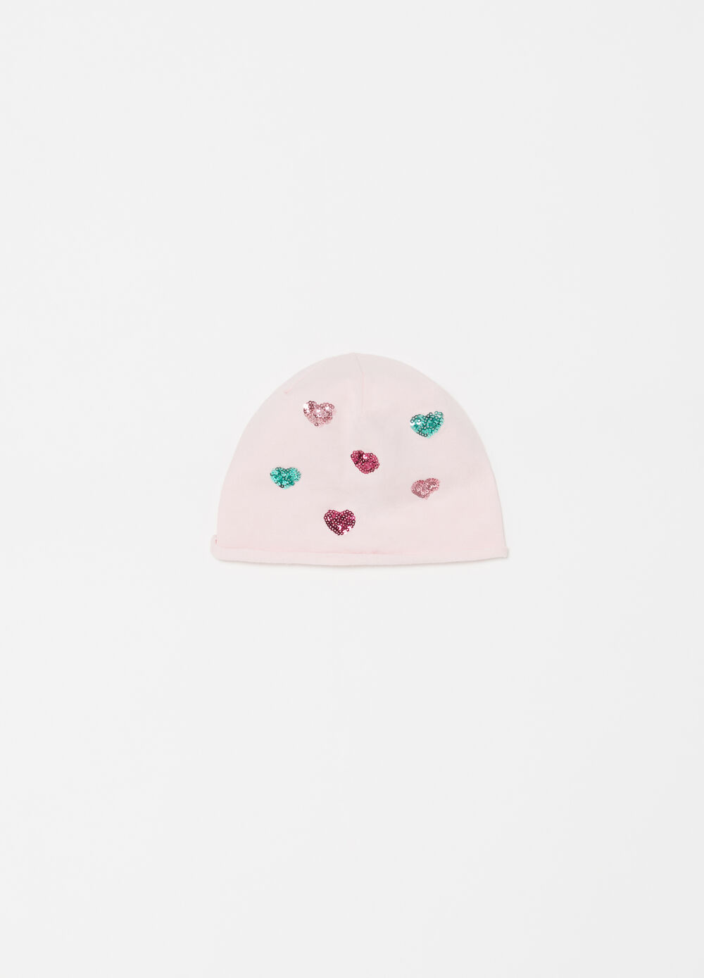 Jersey beret with heart diamantés