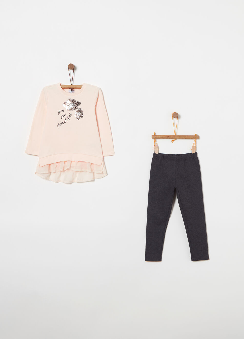 Fleece jogging set with print and sequins
