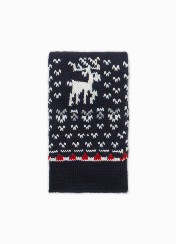 Knitted scarf with Christmas embroidery | OVS