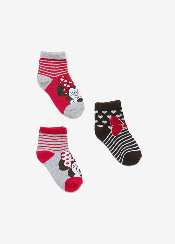 Three-pair pack Minnie Mouse short socks with stripes