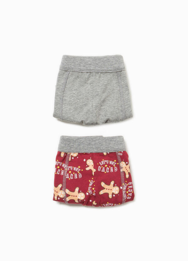 Two-pack solid colour and patterned stretch boxer shorts