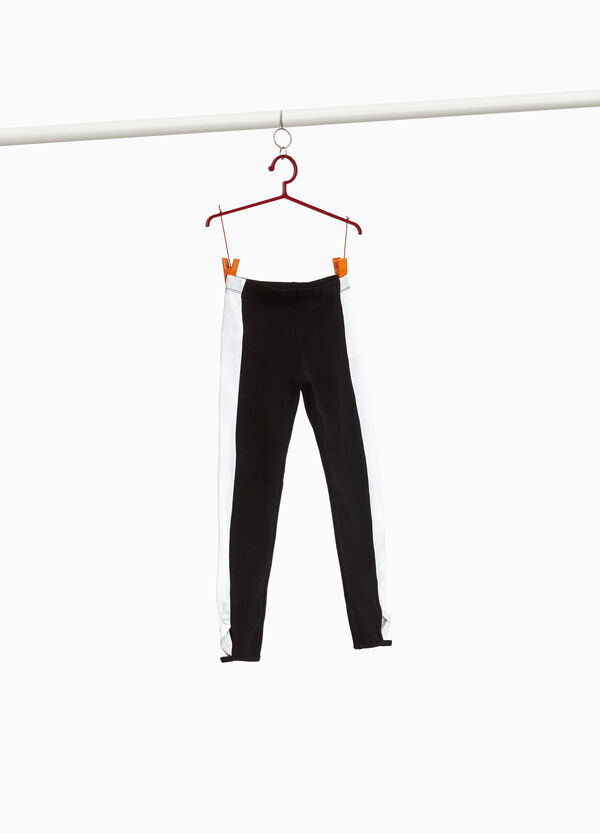 Stretch cotton leggings with crossover