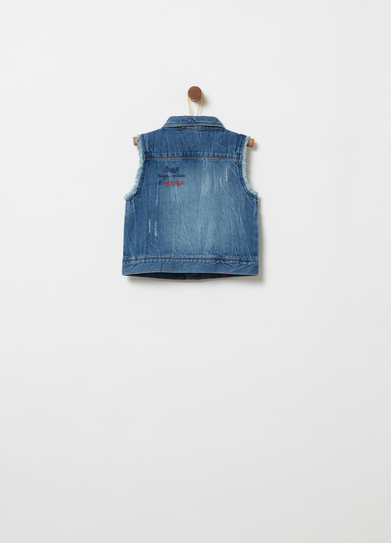 Gilet di jeans effetto vintage sfrangiato image number null
