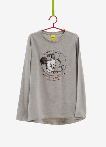T-shirt cotone stampa glitter Mickey Mouse