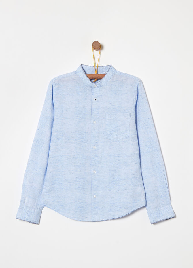 Textured fabric shirt with Mandarin collar