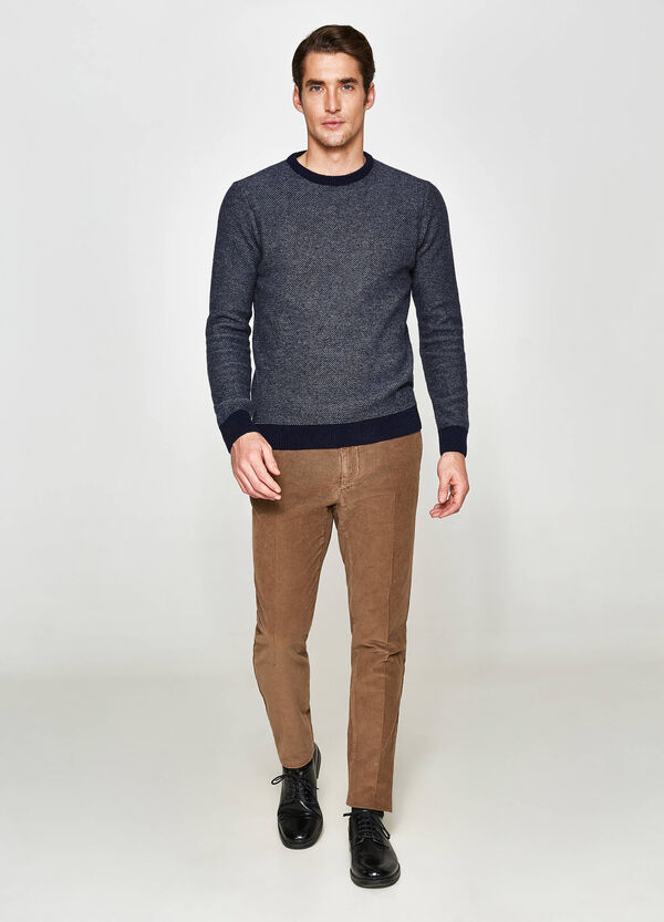 Rumford two-tone wool and cotton pullover