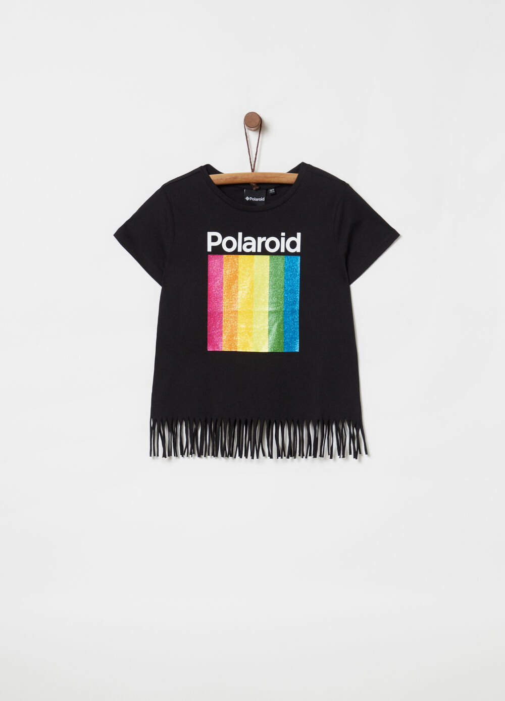 T-shirt with fringing and glitter Polaroid print