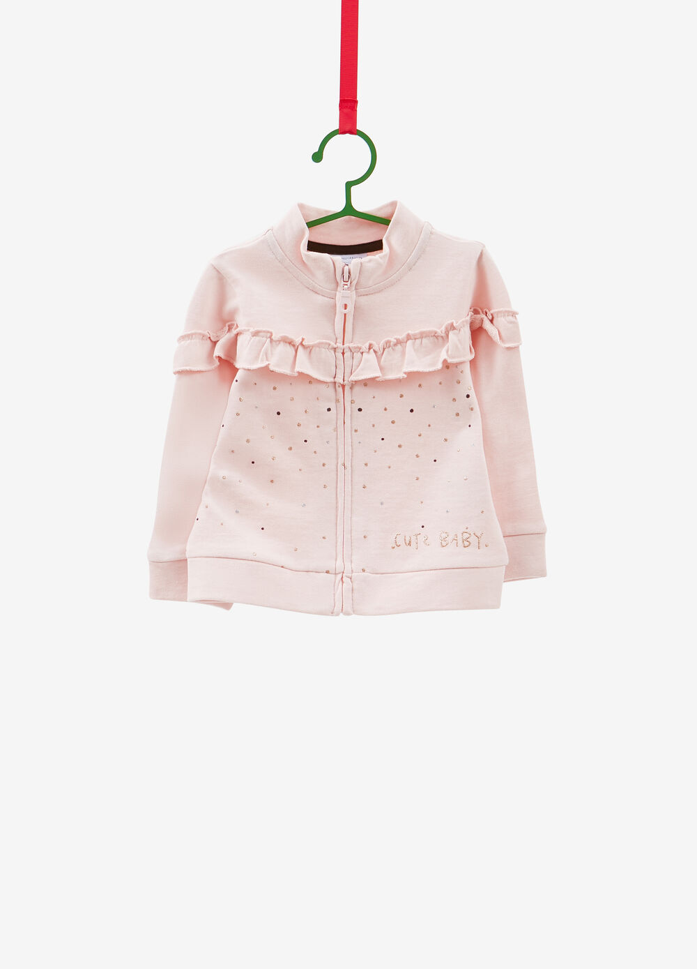 Cotton sweatshirt with glitter print and flounce
