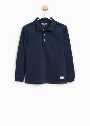 Cotton blend polo shirt with patches