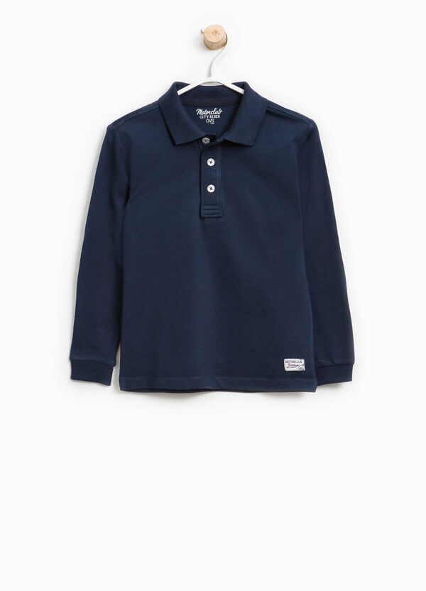 Cotton blend polo shirt with patches | OVS