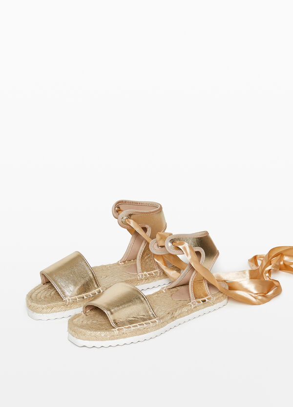 Satin-effect espadrilles with opening