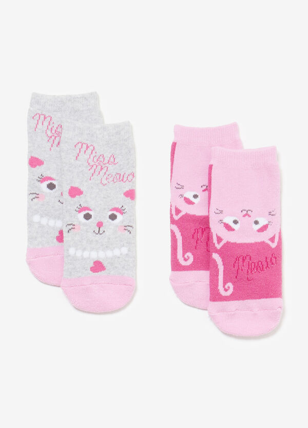 Two-pair pack kitten slipper socks