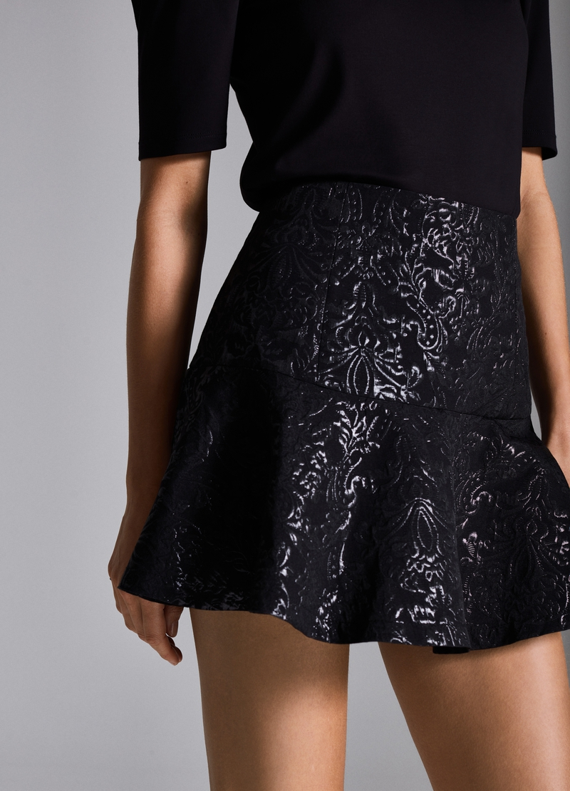 Miniskirt with brocade-effect flounce image number null