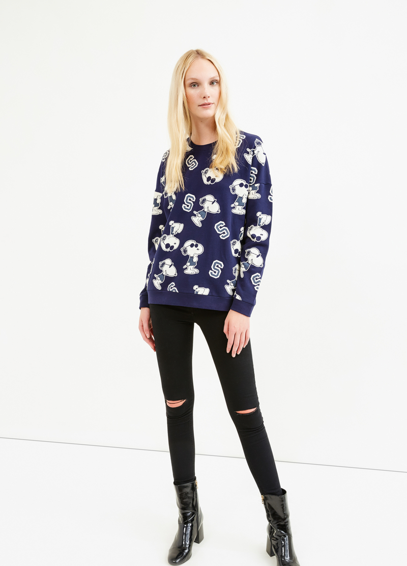 Cotton sweatshirt with Snoopy pattern image number null