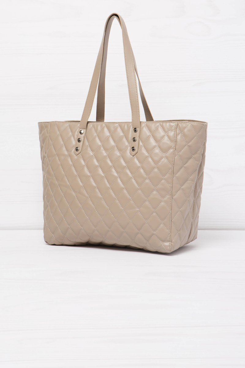Quilted and studded shoulder bag image number null