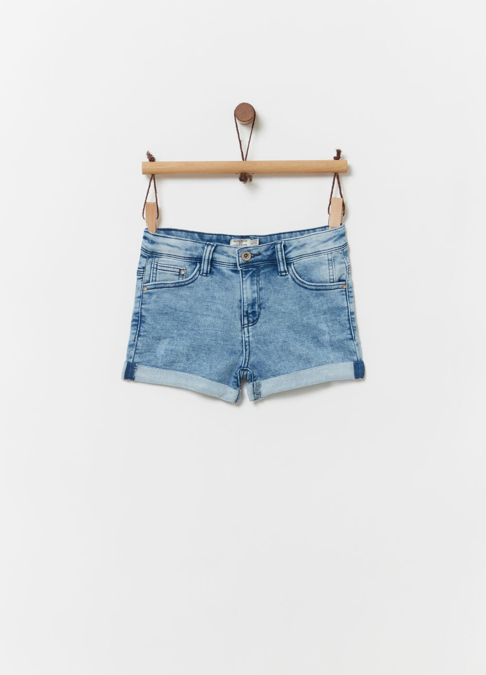 Denim shorts with washed effect