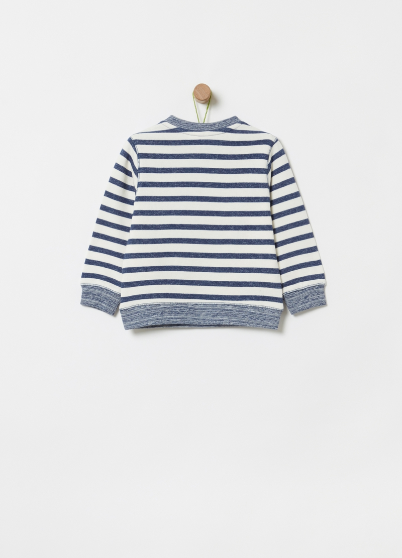 100% organic cotton sweatshirt with stripes image number null