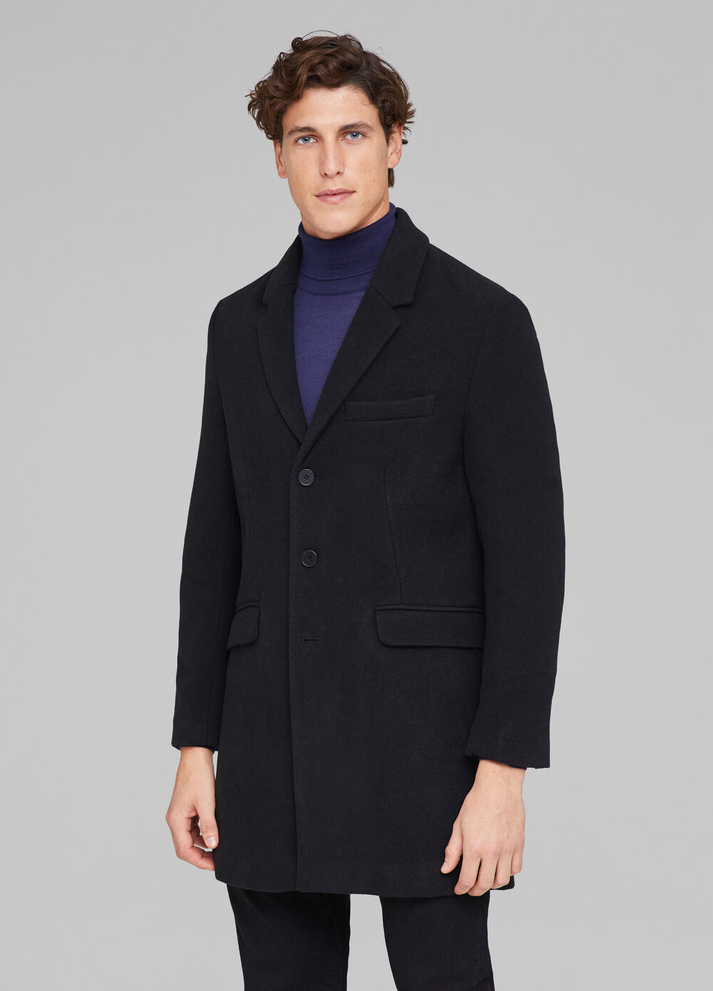 Solid colour wool blend coat