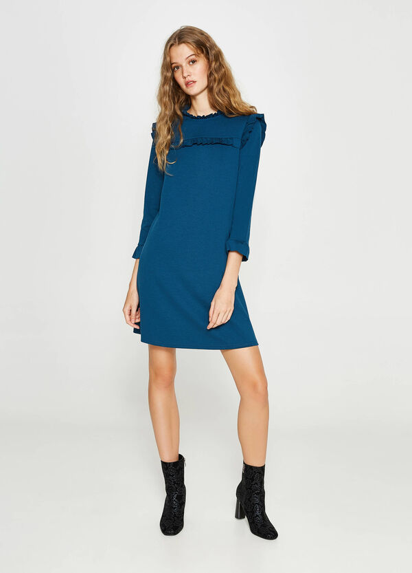Stretch viscose dress with flounce