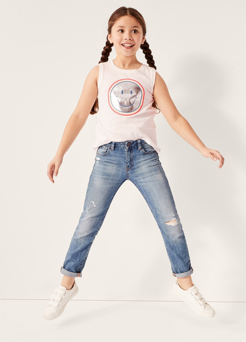 GAP Jeans girlfriend fit con strappi image number null
