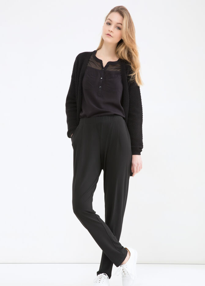 Solid colour stretch trousers