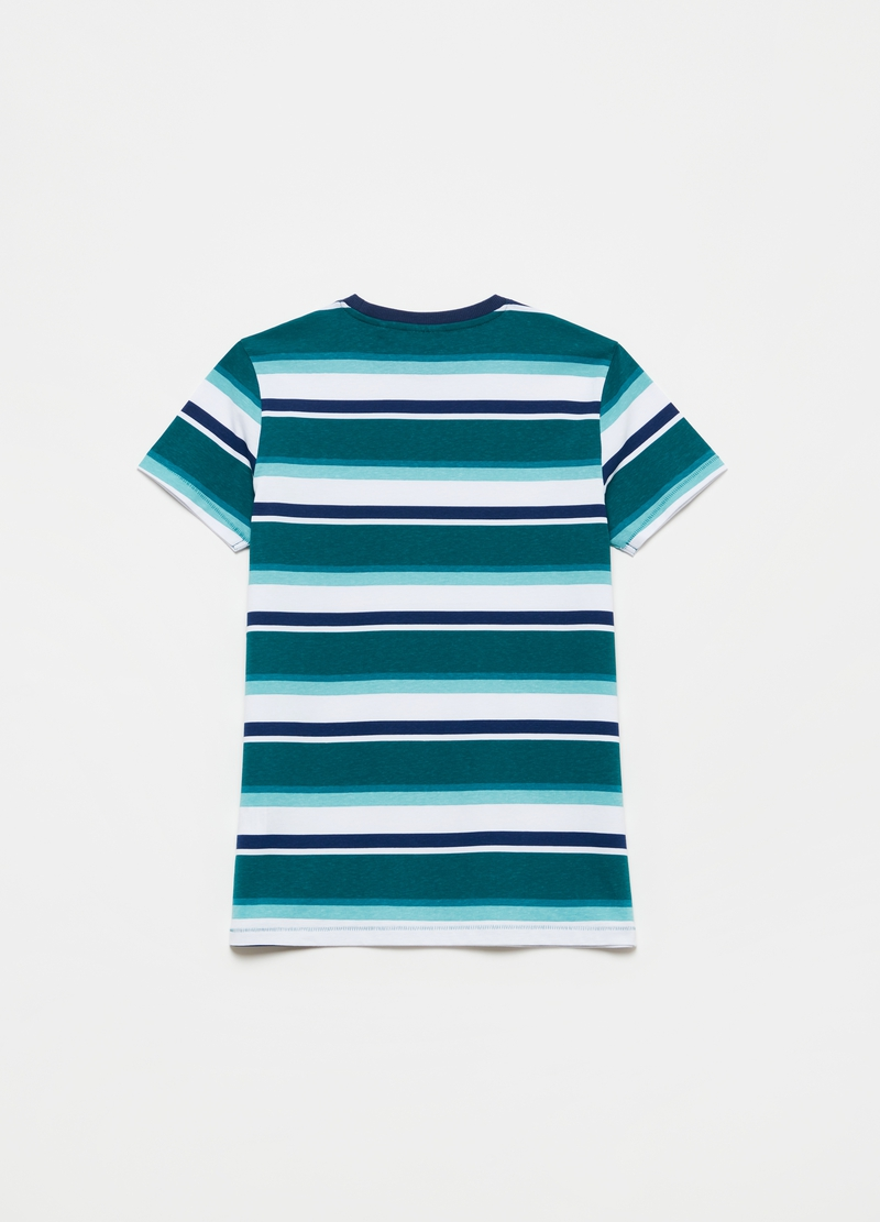 Cotton T-shirt with striped pattern image number null