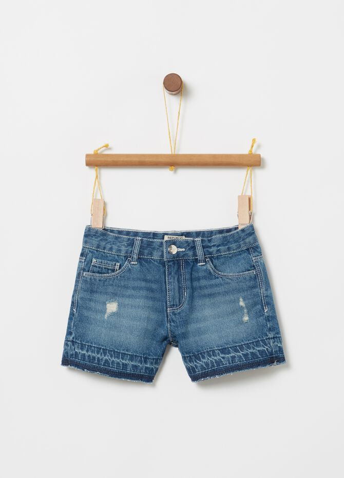 Washed denim shorts with five pockets