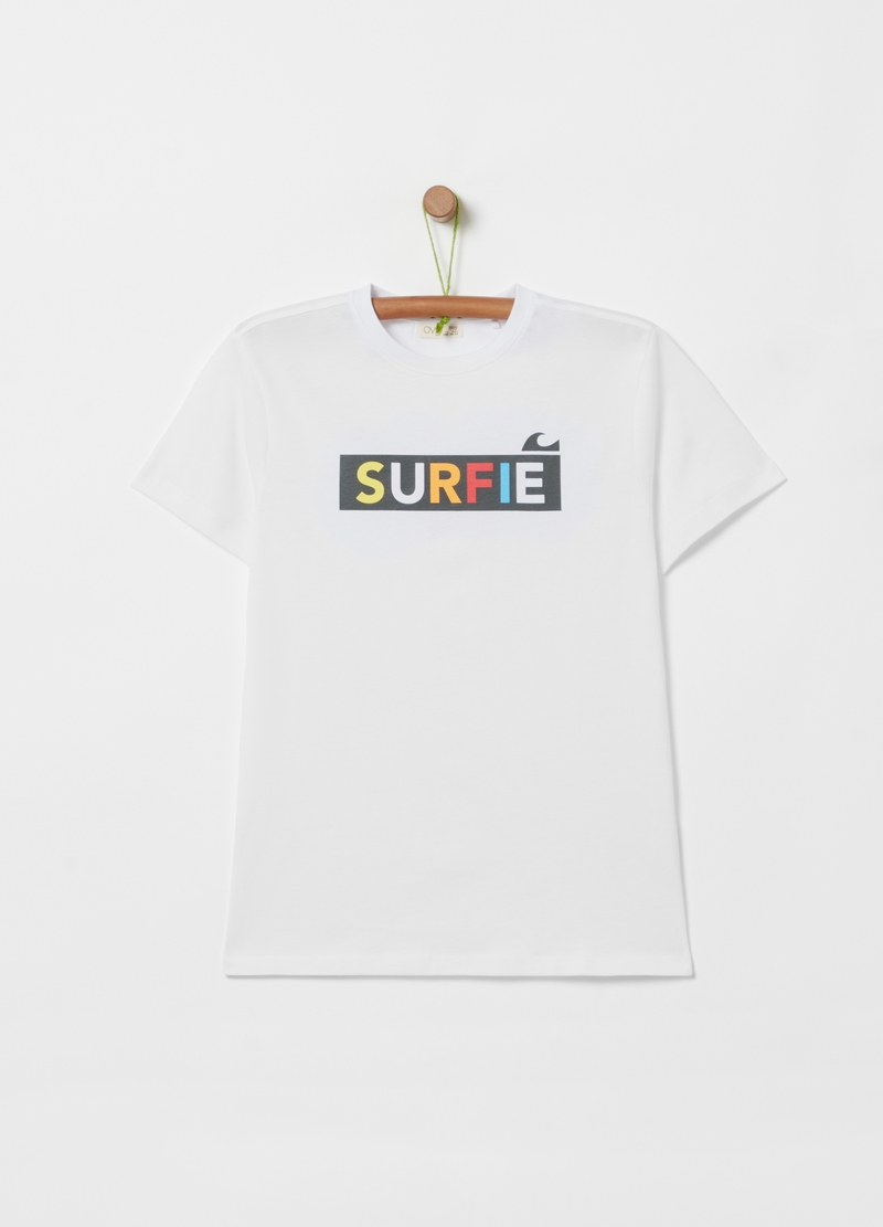 100% cotton T-shirt with wave print image number null