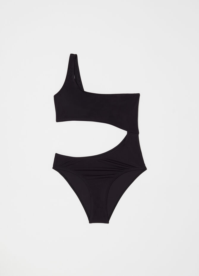 One-piece bandeau swimsuit with one shoulder strap