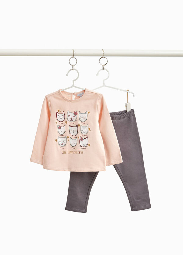 100% cotton outfit with kitten print