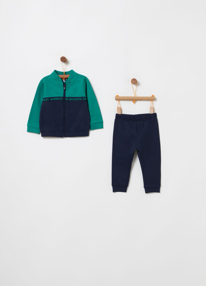 Jogging set with colour block sweatshirt and trousers