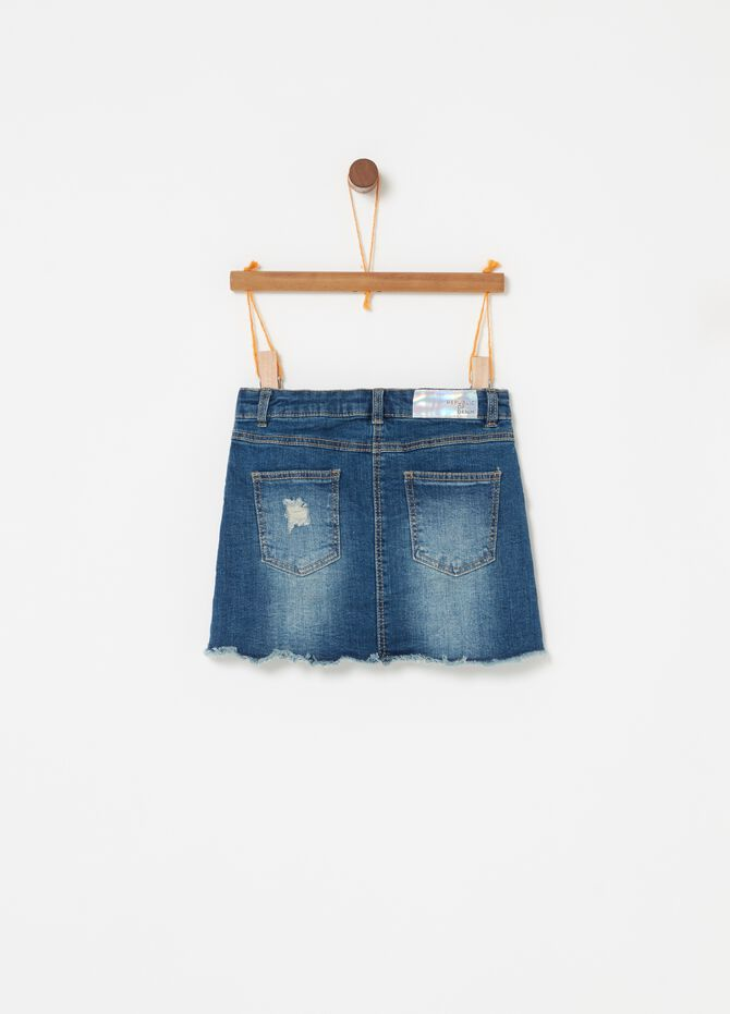 Gonna denim stretch effetto vintage