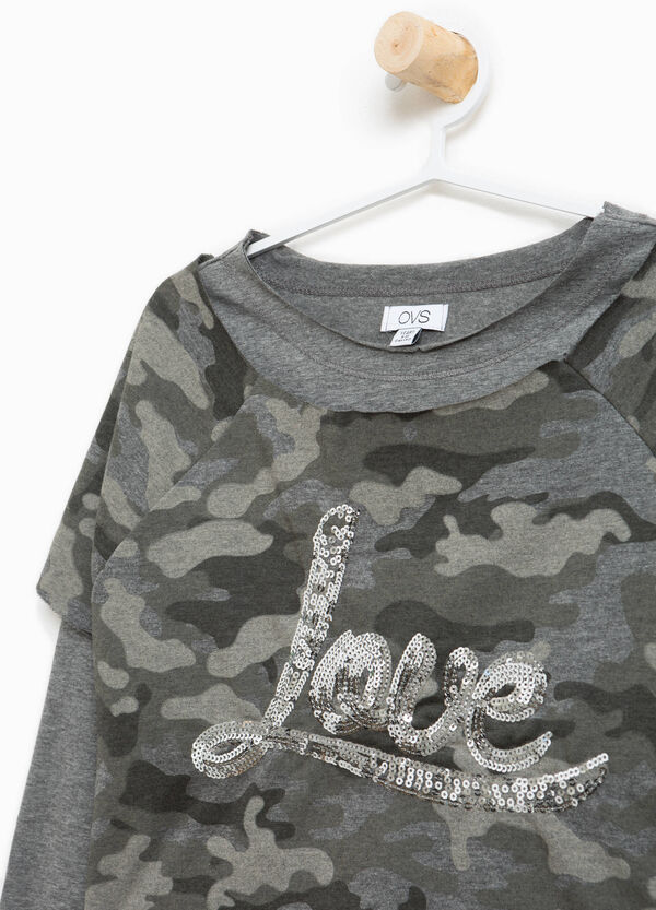 Camouflage sweatshirt in 100% cotton with sequins | OVS