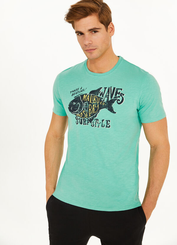 100% cotton T-shirt with fish print
