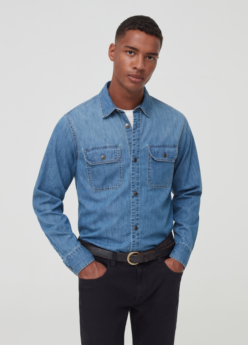 Camicia in denim colletto classico image number null