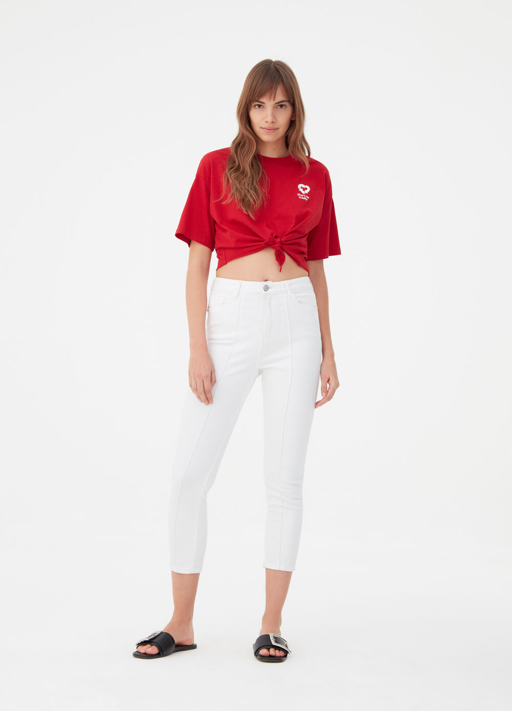 T-shirt cropped BCI con stampa