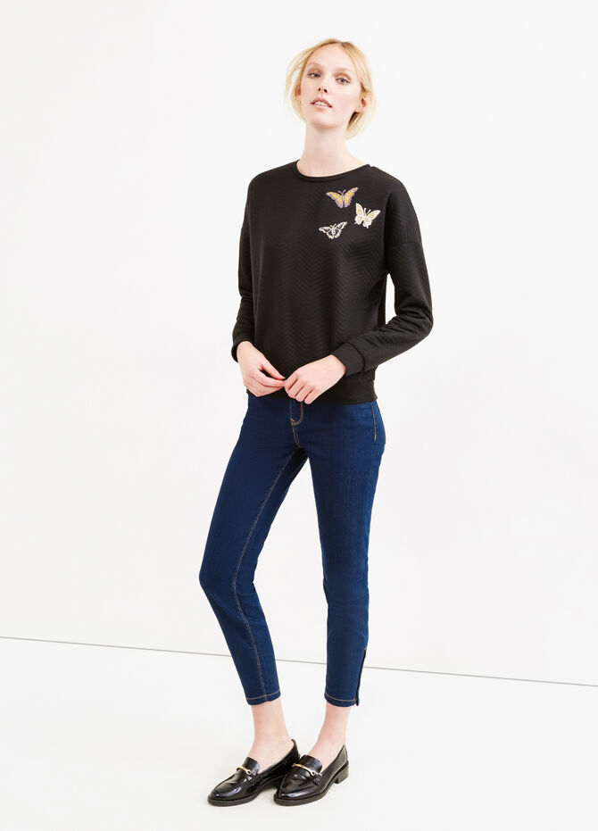 Viscose blend sweatshirt with embroidery and glitter