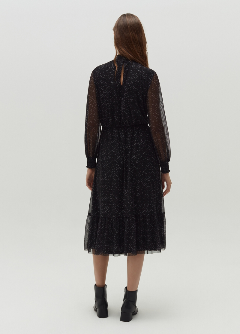Long mesh dress with flounces image number null