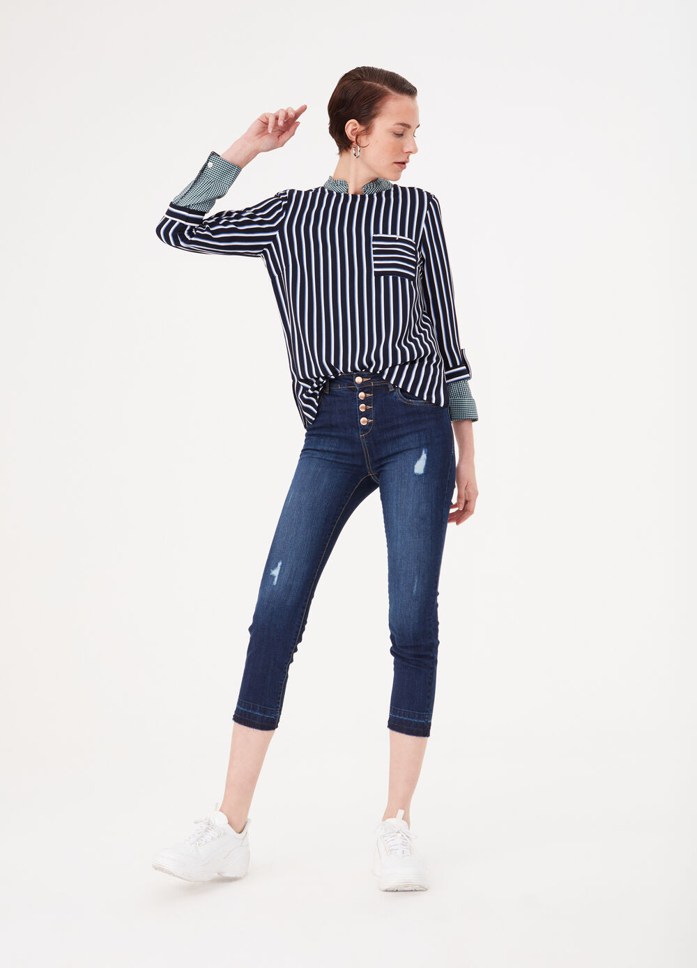 Straight-fit denim jeans with irregular hem
