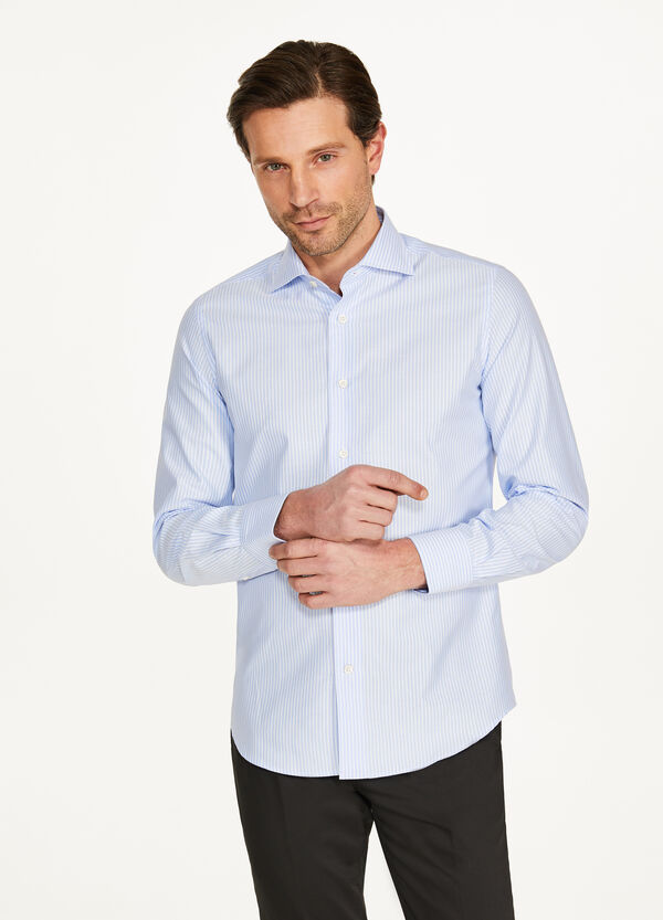 Cotton striped slim fit formal shirt