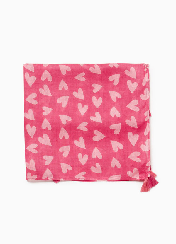 Pashmina in 100% viscose with hearts
