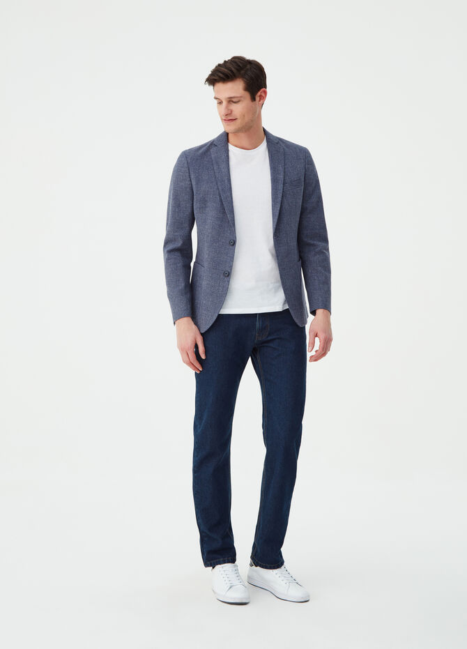 Mélange blazer with lapels and pockets