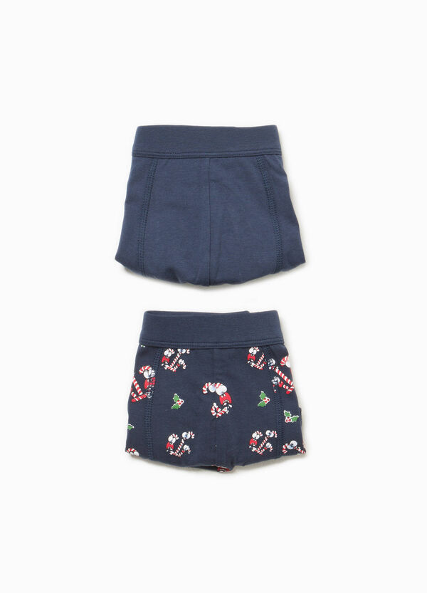 Two-pack solid colour and patterned cotton boxer shorts