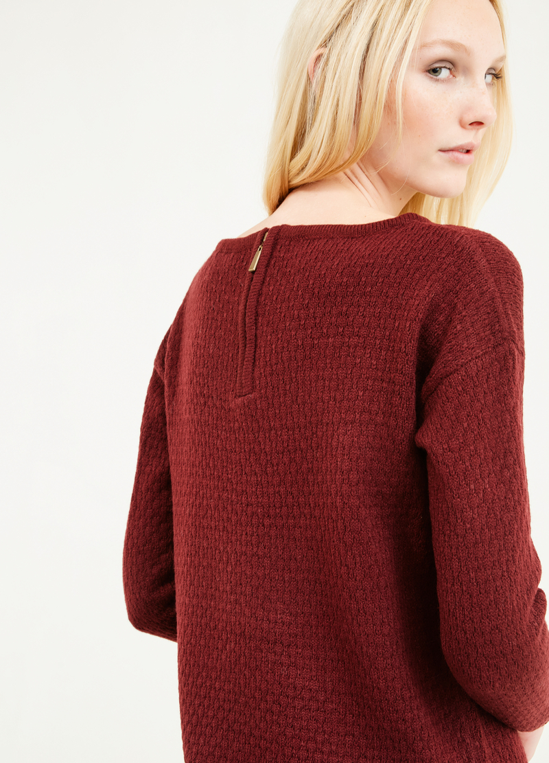 Pullover with boat neck and zip on back image number null