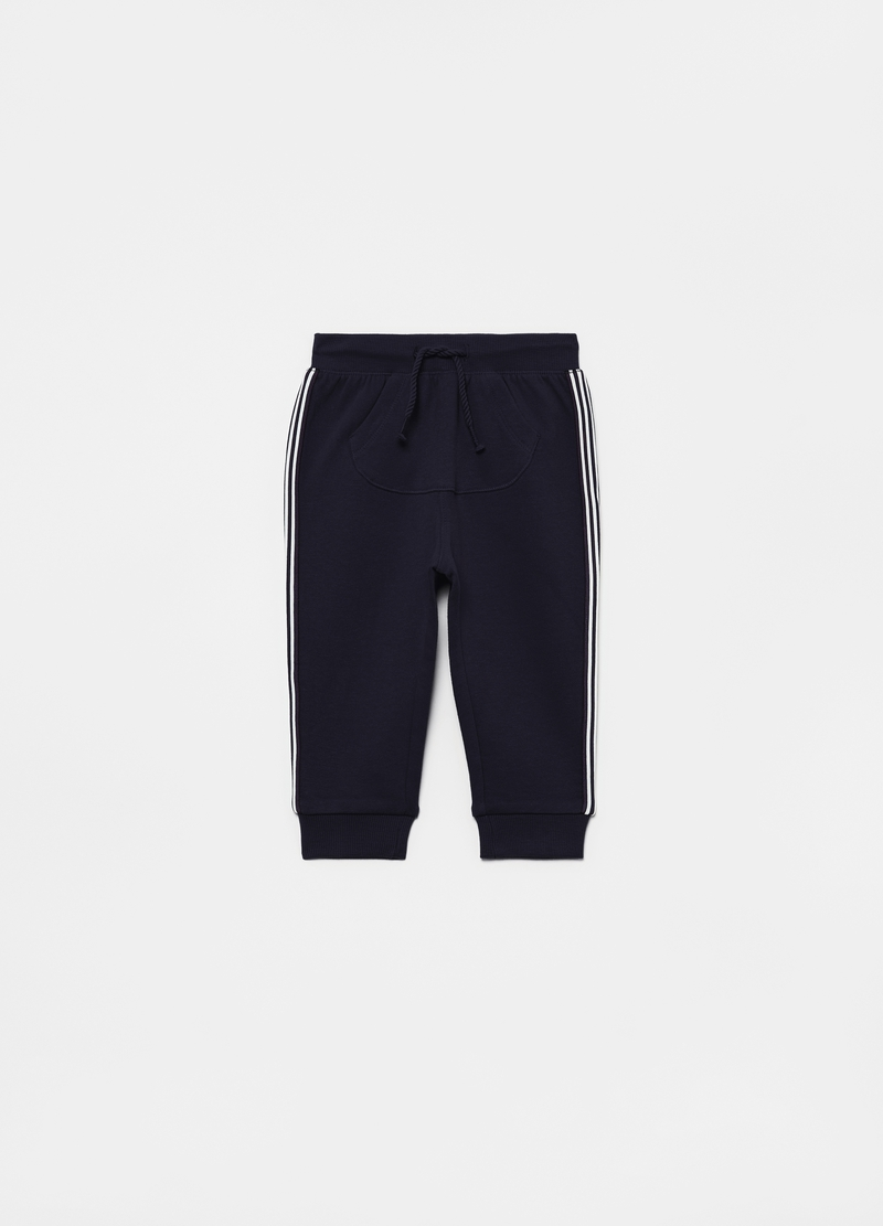 Joggers in organic cotton with contrasting bands image number null