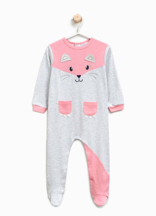 Organic cotton sleepsuit with patch | OVS