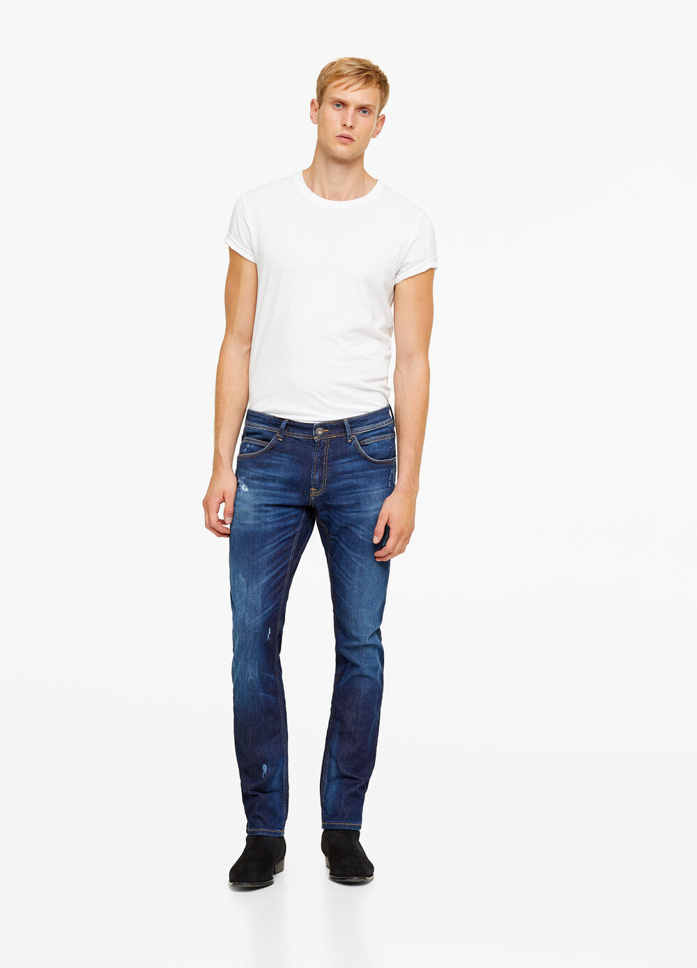 Vintage-wash slim-fit jeans