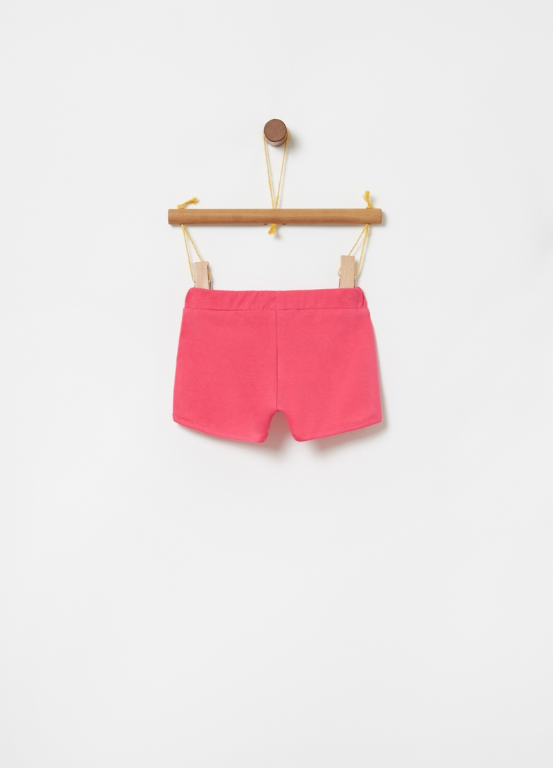 Shorts in cotone bio stretch ricami floreali image number null