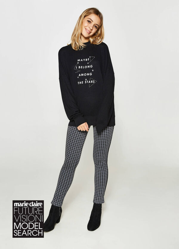 Maxi sweatshirt in viscose blend with lettering | OVS